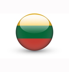Round icon with national flag of Lithuania vector image