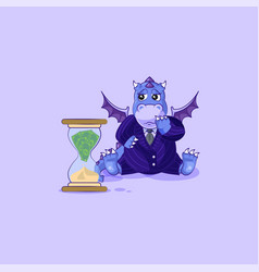 Sad dragon in business suit sits at hourglass vector