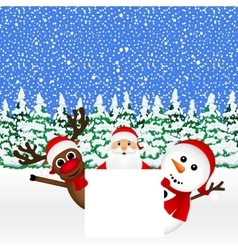 Santa Claus with snowman and reindeer peeking vector image