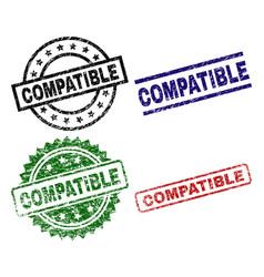 Scratched textured compatible stamp seals vector