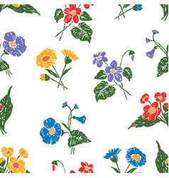 Seamless background of the drawn wildflowers vector