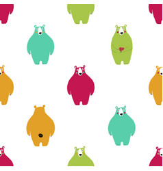seamless pattern with colorful bears vector image