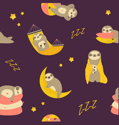 seamless pattern with cute sleepy dreaming sloths vector image