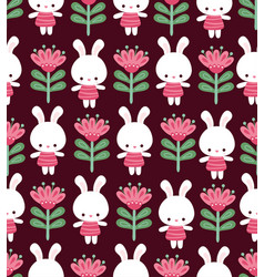 Seamless with cute rabbits on vector