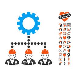 service staff icon with love bonus vector image
