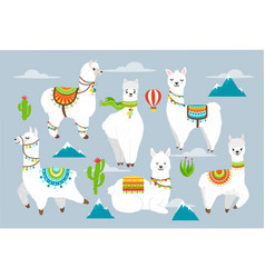 set cute llama and alpaca with cactuses vector image