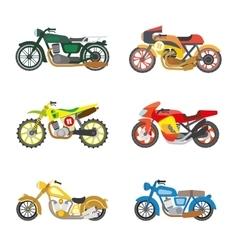 set flat motorcycles vector image
