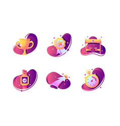 set icons with winner cup stopwatch finishing vector image
