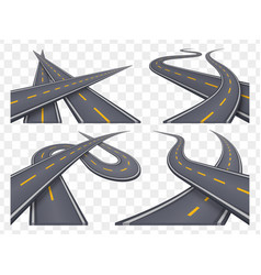 Set of 9 asphalt road concepts in perspective vector