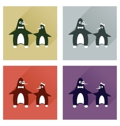 Set of flat web icons with long shadow pair vector