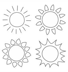 Set of hand drawn sun vector