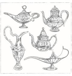 Set of magic arabic lamp holy month for muslim vector