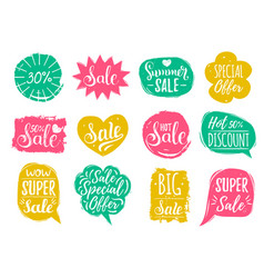 Set of sale lettering in comic speech vector