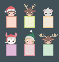 set of six notepads with christmas characters vector image