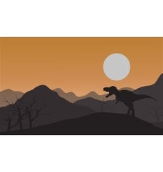 Silhouette of one tyrannosaurus in hills vector