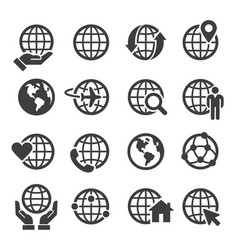 simple set globe related outline icons vector image