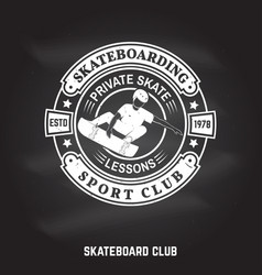 skateboarding sport club sign on the chalkboard vector image