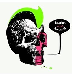skullsketchhand drawpeninktattoohairstyle vector image