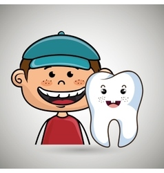 smiling cartoon child with a big tooth vector image