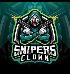 Snipers clown esport mascot logo vector