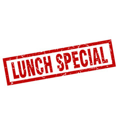 Square grunge red lunch special stamp vector