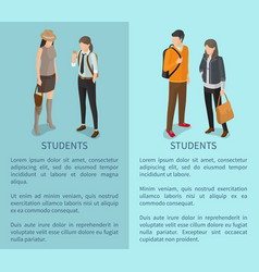 Students collection of posters depicting adults vector