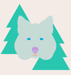 stylish wolf head between christmas trees vector image