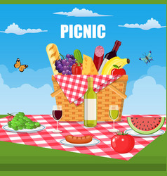 Summer picnic concept with basket vector