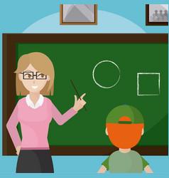 teacher giving class to school boy vector image