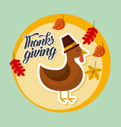 Thanksgiving turkey autumn leaves banner vector