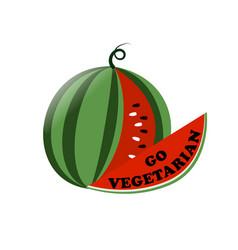 the inscription go vegetarian inscribed inside vector image