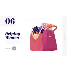 Tiny woman sitting on huge female cosmetician bag vector