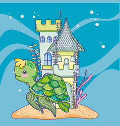 Turtle animal with castle and seaweed plants vector