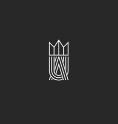Ua letters logo monogram and crown symbol vector