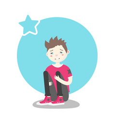 Upset guy sitting and hugging his knees vector