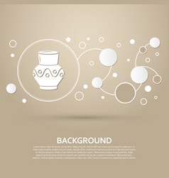 vase amphora icon on a brown background with vector image