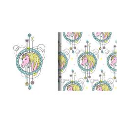 Watercolor unicorn print and seamless vector