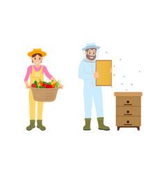 Woman and man farming set vector