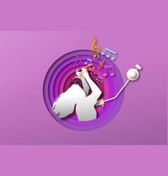 woman dancing to music in papercut vinyl player vector image
