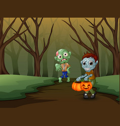 Zombie cartoon spooky in the halloween day vector
