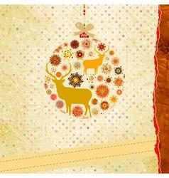 Christmas deer bauble card vector image