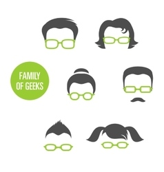 Family Of Geeks vector image vector image