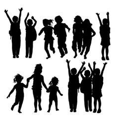 Happy Children Silhouettes vector image vector image