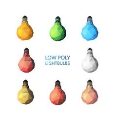 low poly light bulbs set vector image