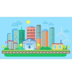 Urban and village landscape with buildings and vector image vector image