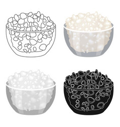 cottage cheese in the bowl icon in cartoon style vector image