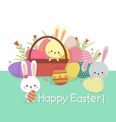 Easter with colored eggs and bunnies vector image vector image