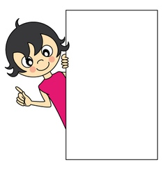 Little girl with a blank sign vector image