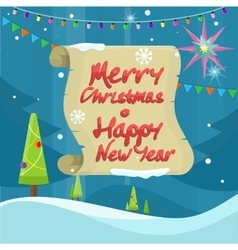 Merry Christmas and Happy New Year Colorful Banner vector image