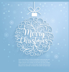 merry christmas paper cut art vector image vector image